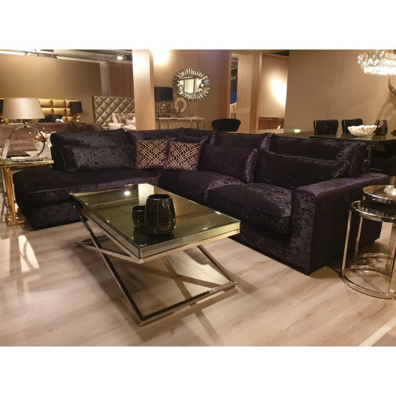 Hoekbank Bankstel Loungebank Model Saint-Tropez Zwart Velvet lounge links