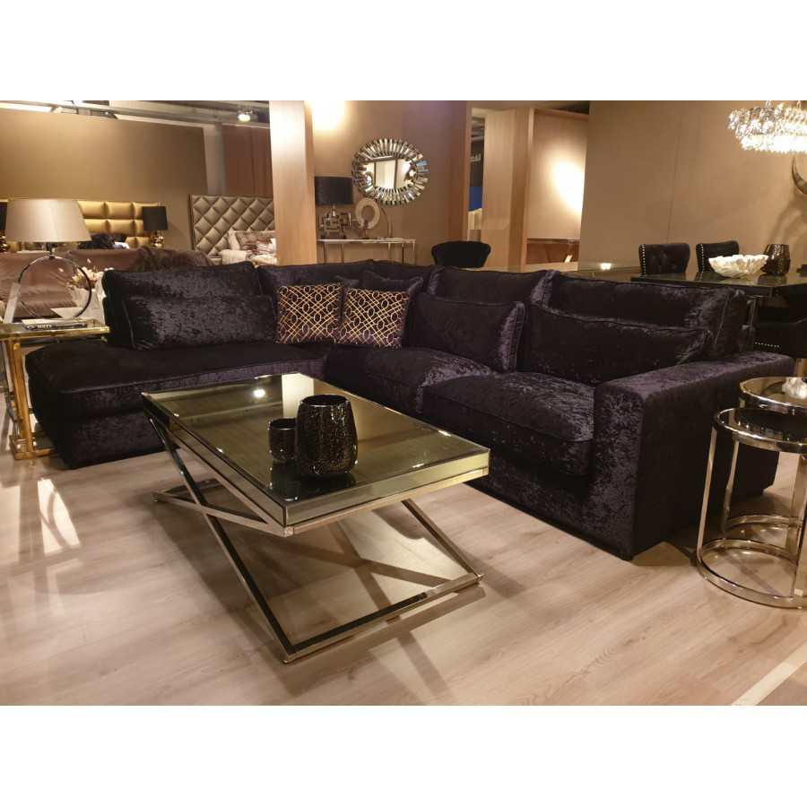 Hoekbank Bankstel Loungebank Model Saint-Tropez Zwart Velvet lounge links