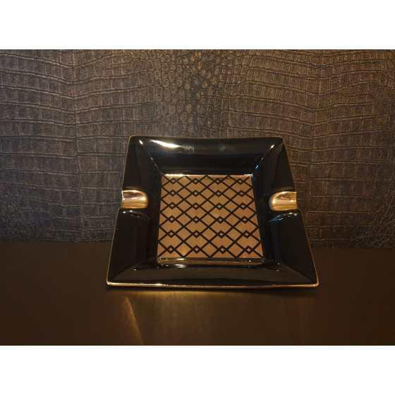 Asbak zwart goud motief vierkant 17x17 cm