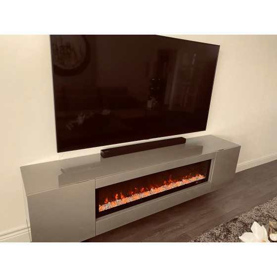 TV-MEUBEL MET SFEERHAARD 200X40CM HOOGGLANS TAUPE