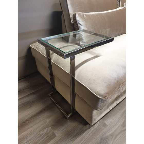 Zilver bijzettafeltje / laptoptafel met glasplaat 63x48x35  DC