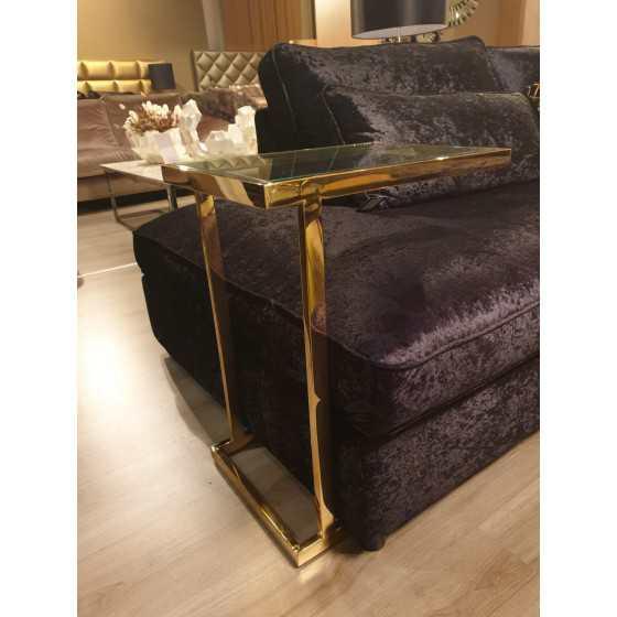Gouden bijzettafeltje / laptoptafel met glasplaat 63x48x35  DC