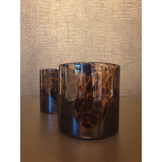 Waxinelichthouder glas tijger 12cm