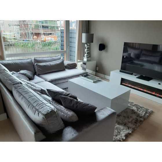 TV-Meubel met sfeerhaard 160x40cm Hoogglans Wit