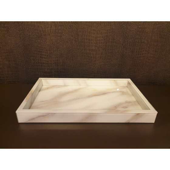 Dienblad wit Marmer Glas 30x50x5cm