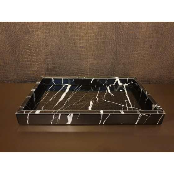 Dienblad Zwart Marmer Glas 50x30x5cm