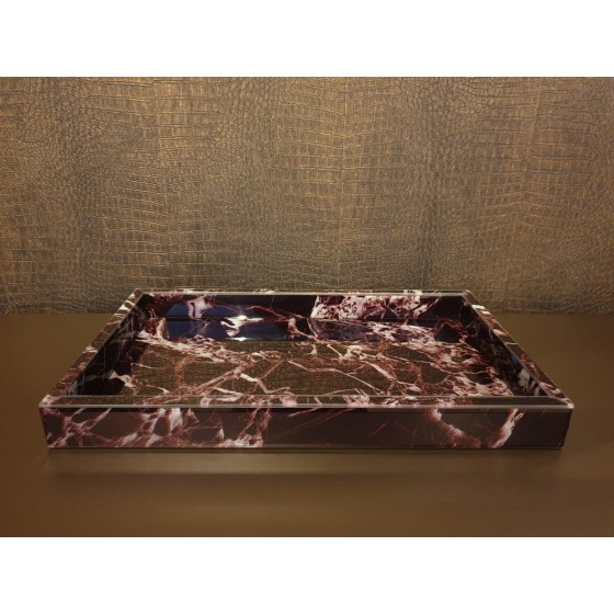 Dienblad Bruin Marmer Glas 50x30x5cm