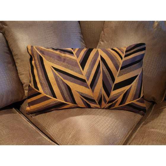 Kussen stripes goud brons zwart 55x30cm