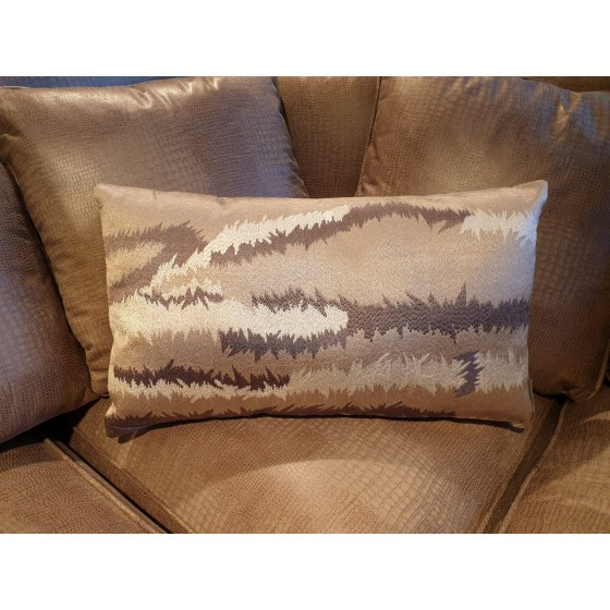 Kussen barbed champagne brons taupe 55x30cm