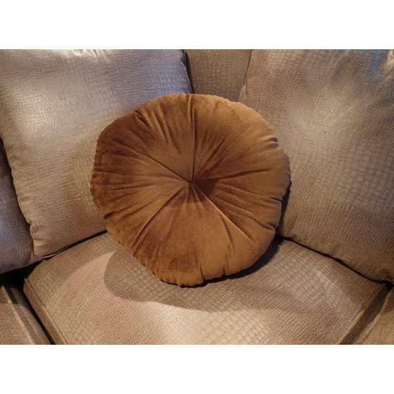 Kussen rond bruin velvet 35cm