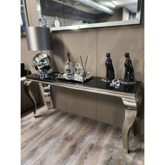 Polo sidetable zilver onderstel zwarte glasplaat 140cm