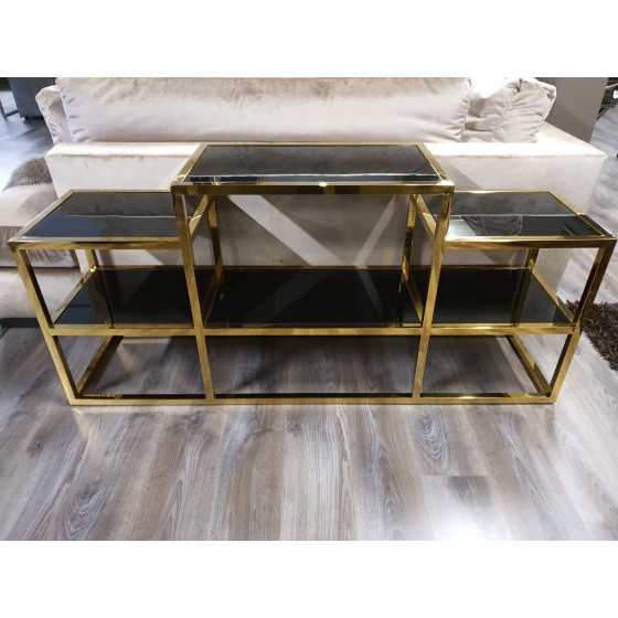 Idol Tv meubel goud met zwarte glasplaat 160cm
