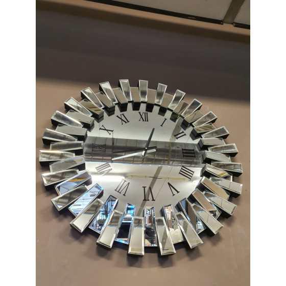 Piano klok zilver spiegel 80cm