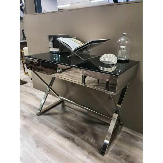 Console spiegel tafel 120x50 zilver onderstel met zwarte glasplaat