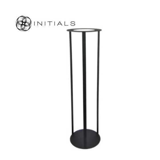 Luxe windlicht op open pilaar zwart 27.5x80 cm
