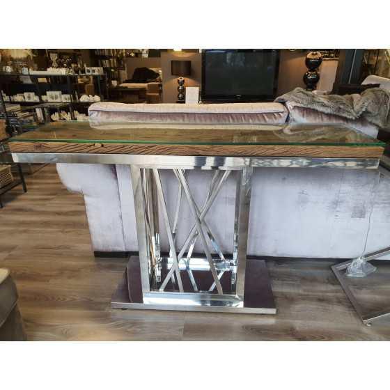 Sidetable Model Aspen wagonhout met zilver onderstel 140x40 inclusief glasplaat
