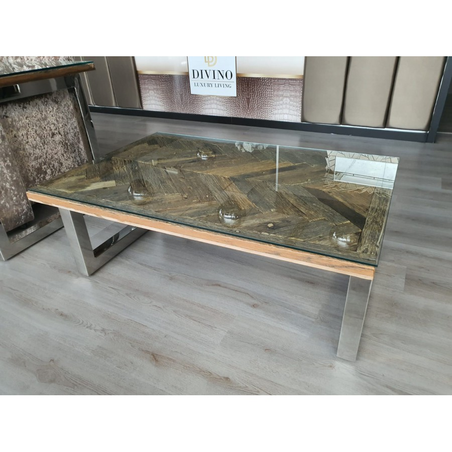 Wagonhout Visgraat salontafel 130x70cm exclusief glasplaat