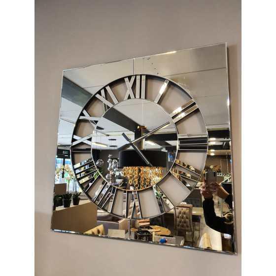 Spiegelklok Vierkant Sepia 80x80