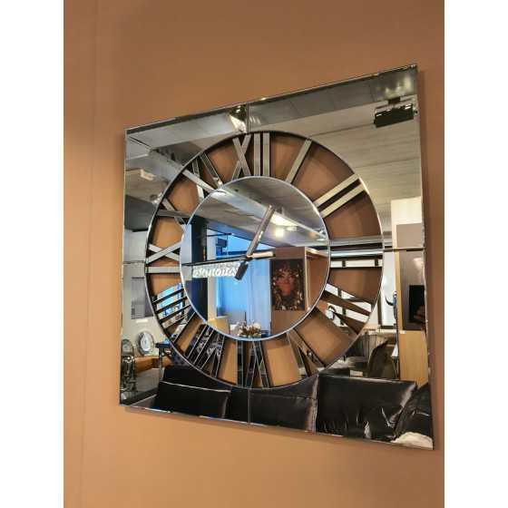 Spiegelklok Vierkant antraciet 80x80