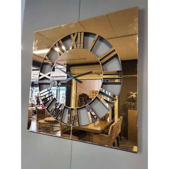 Spiegelklok Vierkant brons 80x80