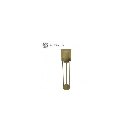 Luxe windlicht op pilaar goud open 27.5X80 CM