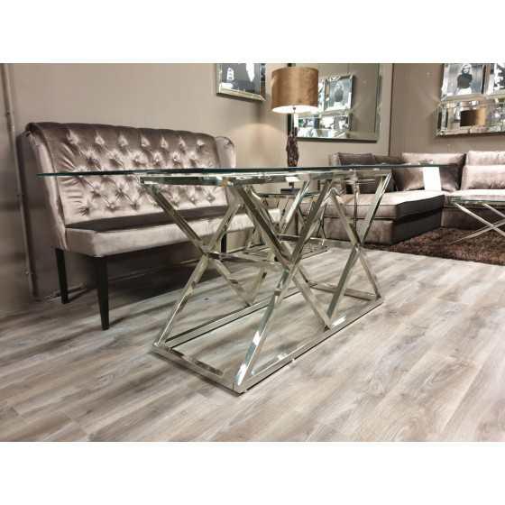 Eettafel Jaxx Zilver onderstel met glasplaat 160x90