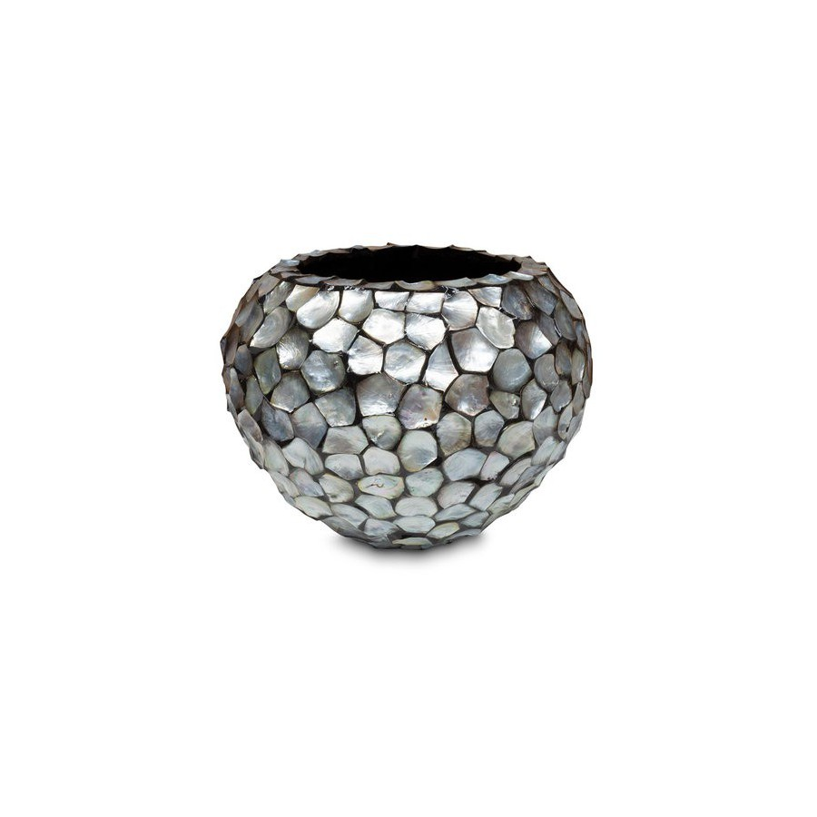 """Schelpenvaas rond """"Mother of Pearl Silver"""" 52cm"""