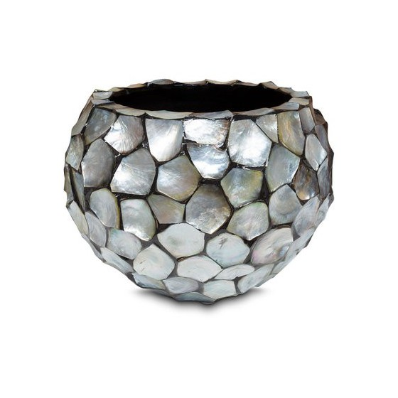 "Schelpenvaas rond ""Mother of Pearl Silver"" 36cm"