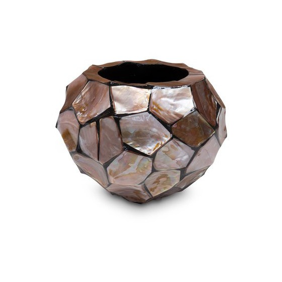 "Schelpenvaas rond ""Mother of Pearl Brown"" 20cm"