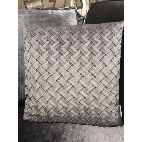 Kussen gevlochten grijs 45x45cm