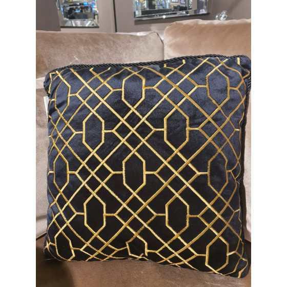 Kussen zwart met gouden patroon 45x45cm