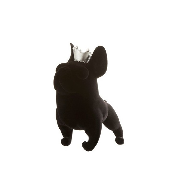Velvet French Buldog ornament with crown 15cm