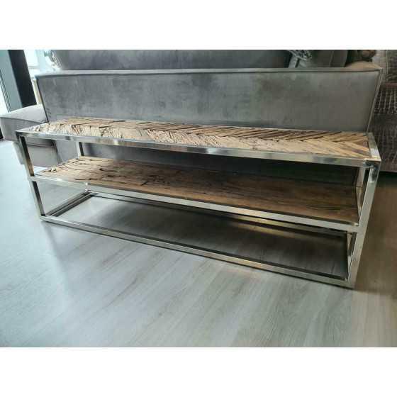 Tv meubel 160cm Visgraat wagonhout met chrome details