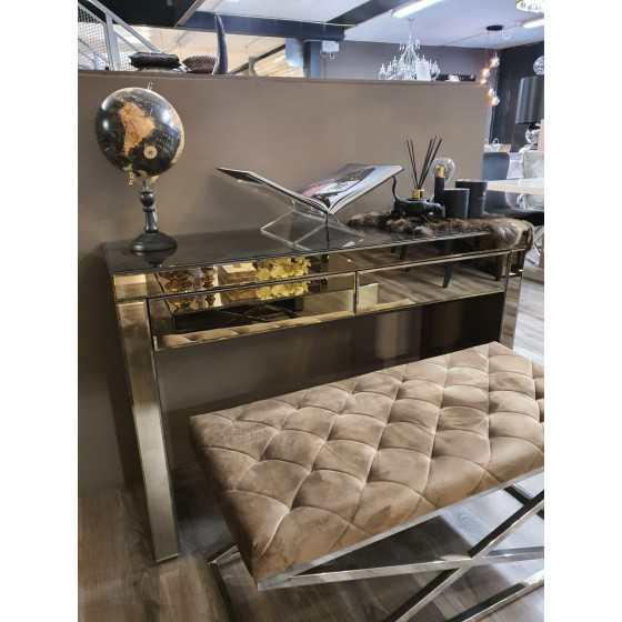 Bijzettafel | Make up tafel | Bureau Spiegel Sepia met Lades