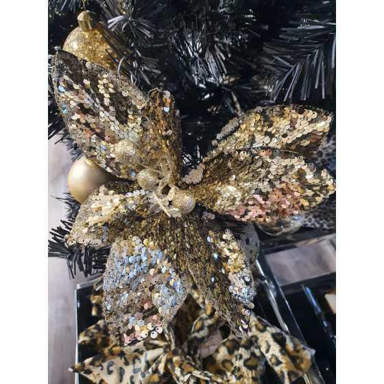 Kerstbloem zwart met goud