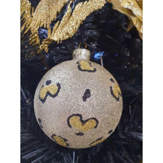 Kerstbal Panterprint goud XL