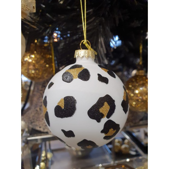 Kerstbal Panterprint wit