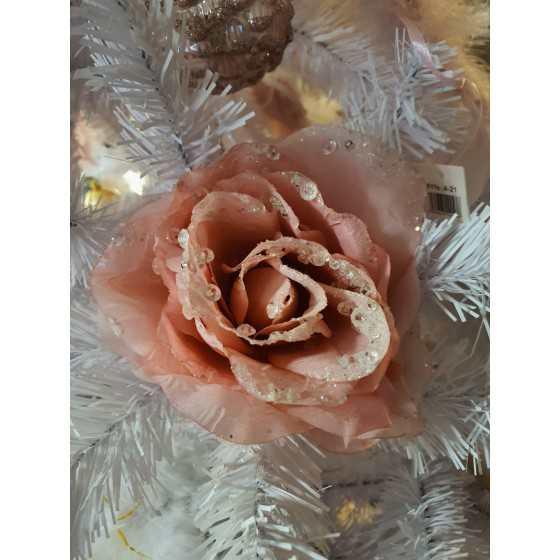 Kerst roos met klem roze met diamant