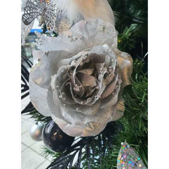 Kerst roos met klem zilver met diamant