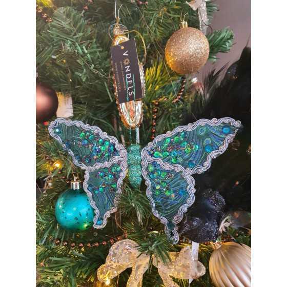 Kerst Vlinder Turqoise met glitter