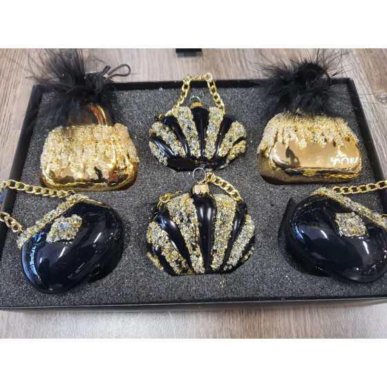 Giftbox luxe handtas zwart/goud 6pcs