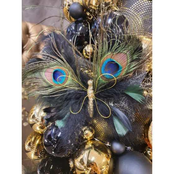 Kerstvlinder met klem met pauwveren