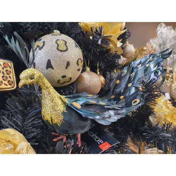 XL duif zwart met gouden staart 50cm