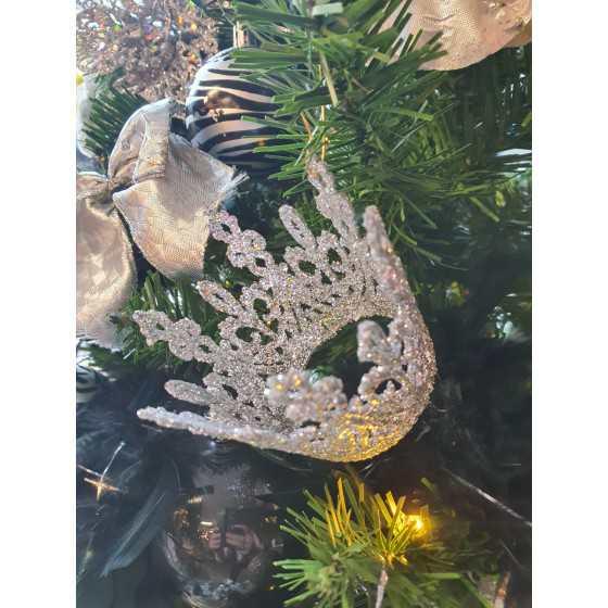 Zilveren glitter kroon hanger