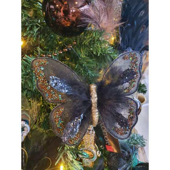 Luxe zwarte vlinder op klem 10cm