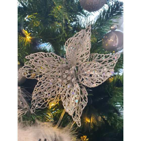 Kerstbloem zilver glitter met klem