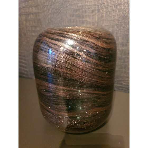 Glazen vaas bruin met glitter 25cm