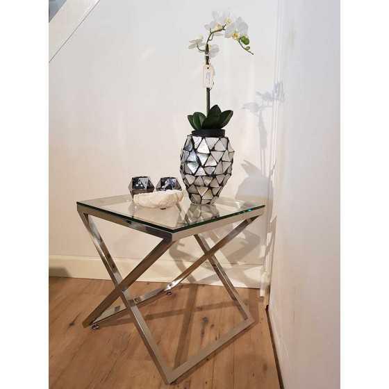 X-Legs Table Bijzettafel 50x50x56cm Chromen Onderstel met Glasplaat