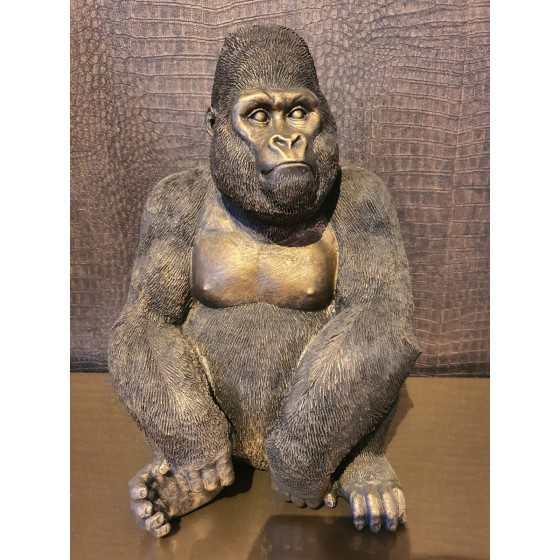 Gorilla beeld brons 37cm