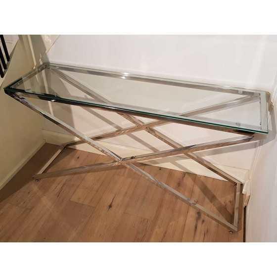 Sidetable Met Glasplaat.X Legs Side Table Sidetable Chromen Onderstel Met Glasplaat